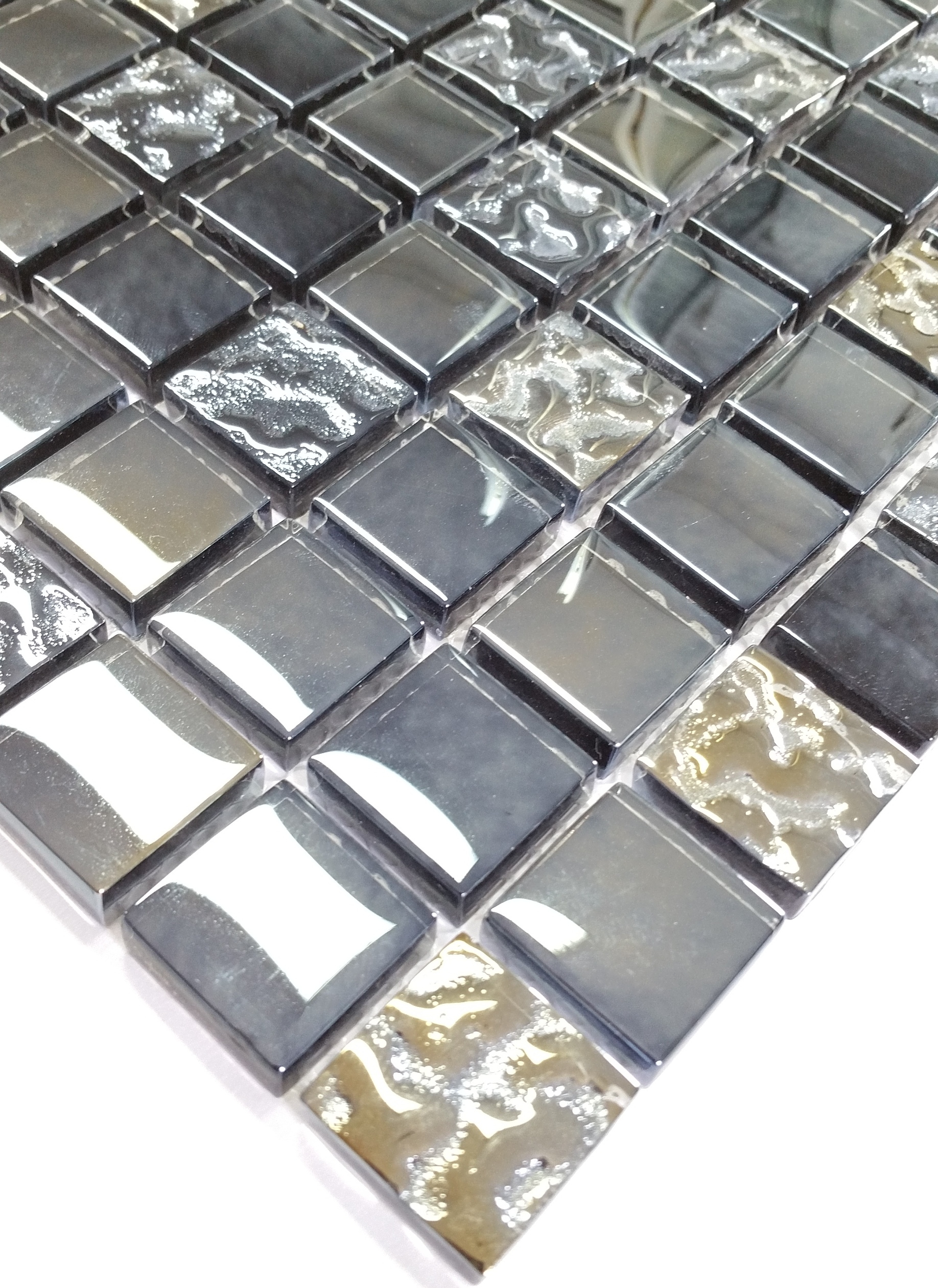 Dusche Fliesen Erst Boden Oder Wand : cm Glas Mosaik DARK NIGHT grau silber Fliesen Boden Wand Dusche Bad