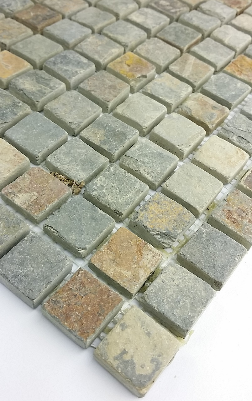 1 qm samba schiefer mosaik fliesen boden wand mosaike naturstein 24x24 mm braun ebay. Black Bedroom Furniture Sets. Home Design Ideas